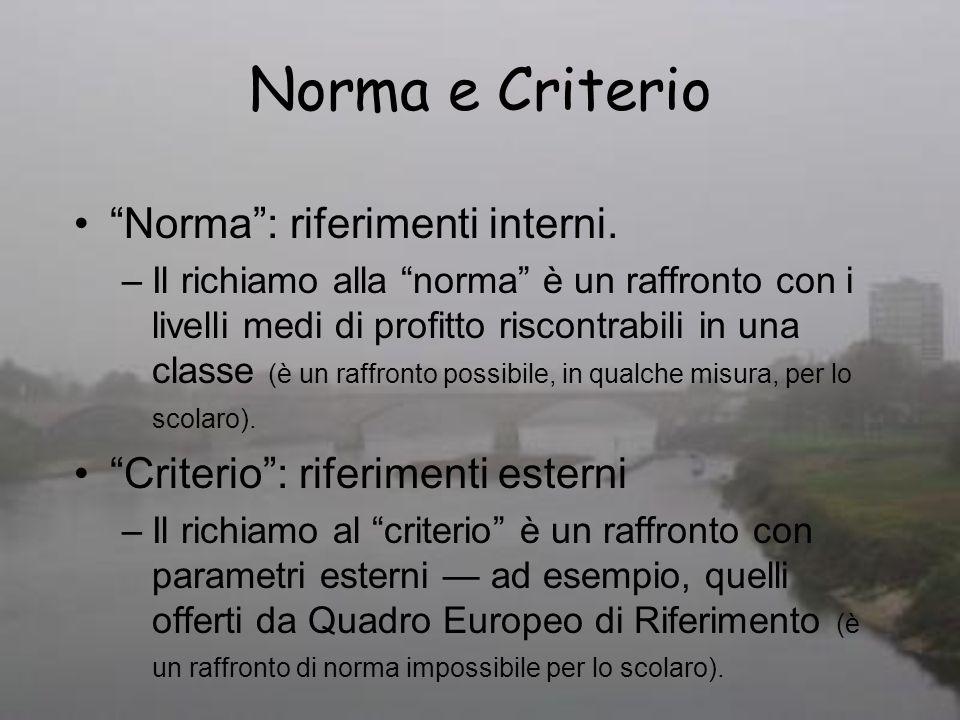 Norma e Criterio Norma : riferimenti interni.