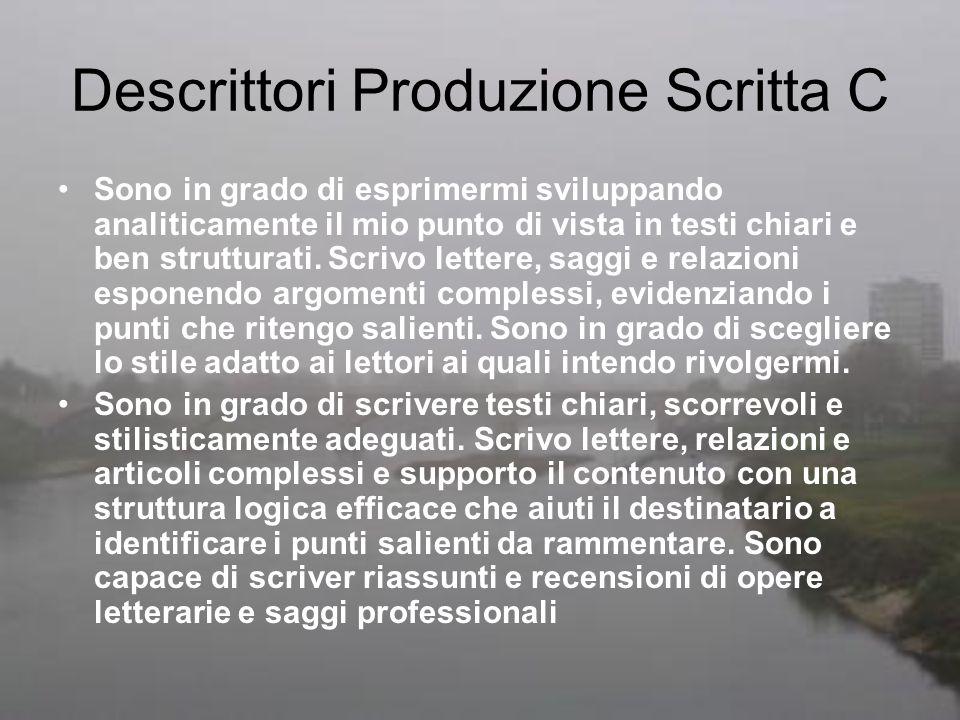 Descrittori Produzione Scritta C
