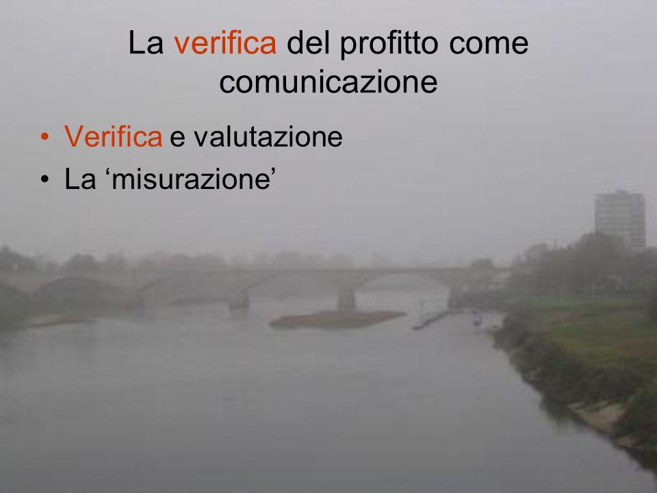 La verifica del profitto come comunicazione