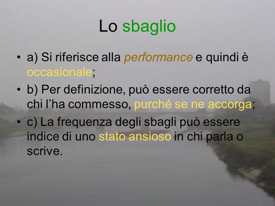 Lo sbaglio a) Si riferisce alla performance e quindi è occasionale;