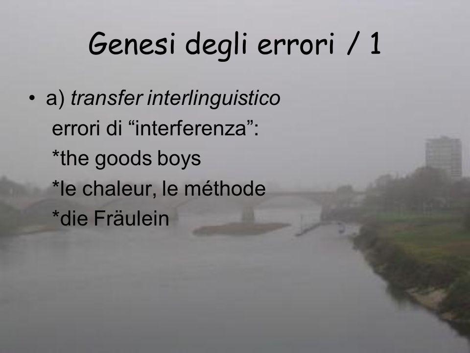 Genesi degli errori / 1 a) transfer interlinguistico