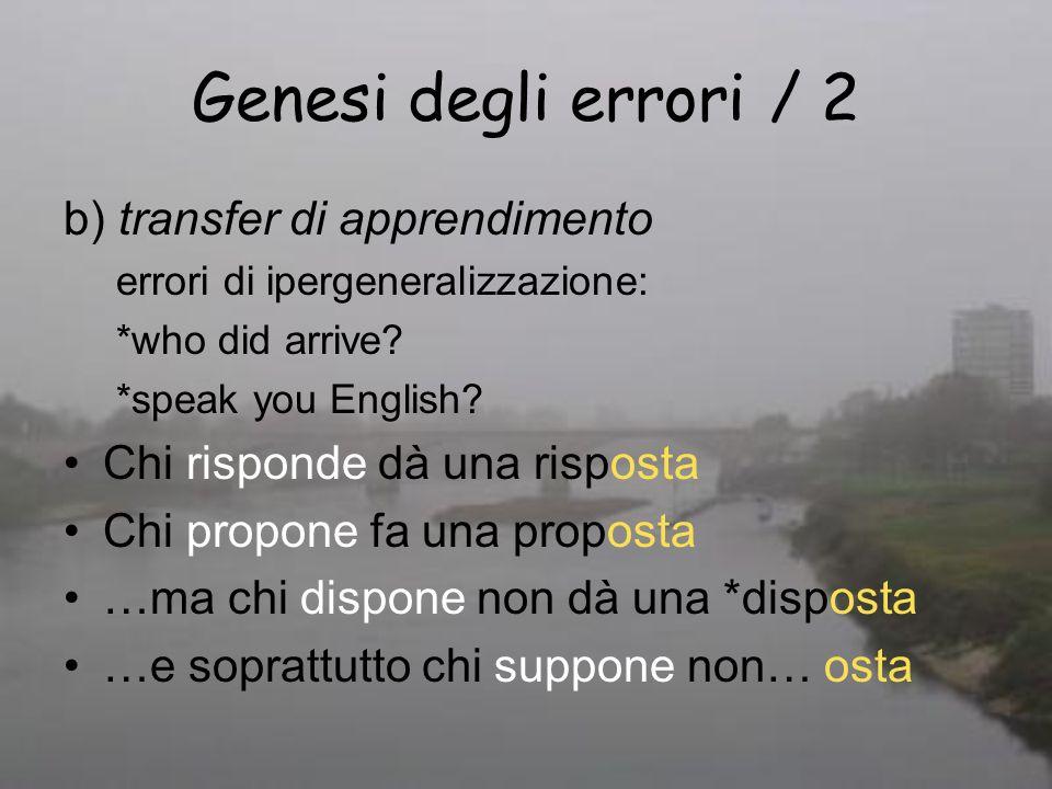 Genesi degli errori / 2 b) transfer di apprendimento