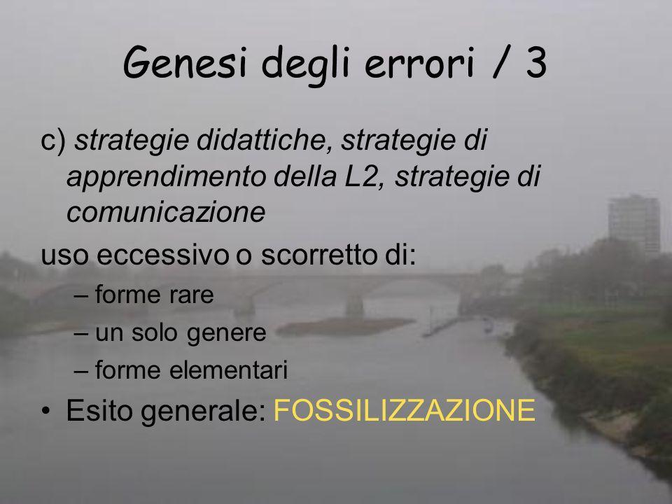 Genesi degli errori / 3 c) strategie didattiche, strategie di apprendimento della L2, strategie di comunicazione.