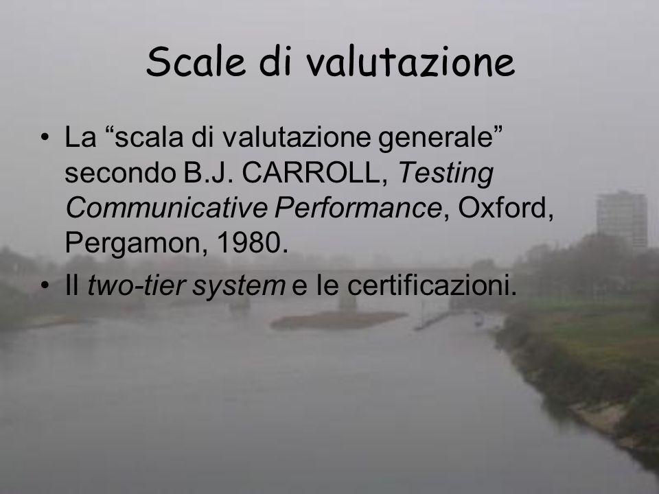 Scale di valutazione La scala di valutazione generale secondo B.J. CARROLL, Testing Communicative Performance, Oxford, Pergamon, 1980.