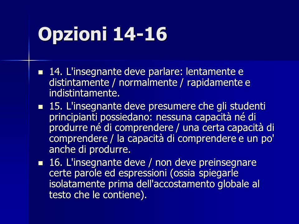 Opzioni 14-16 14. L insegnante deve parlare: lentamente e distintamente / normalmente / rapidamente e indistintamente.