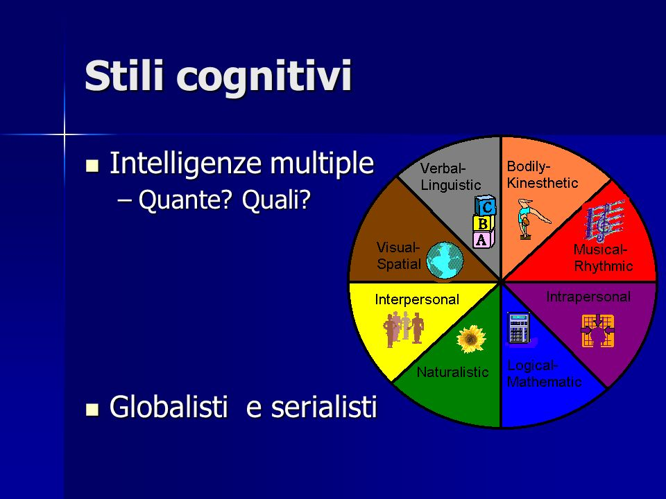 Stili cognitivi Intelligenze multiple Globalisti e serialisti
