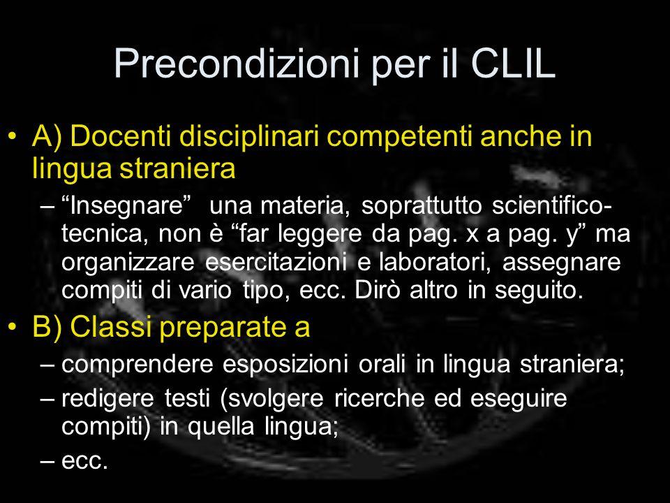 Precondizioni per il CLIL