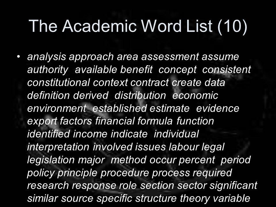 The Academic Word List (10)