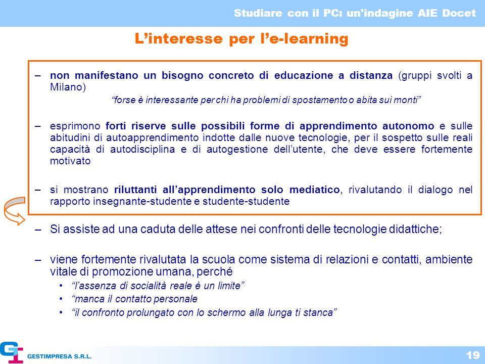 L'interesse per l'e-learning