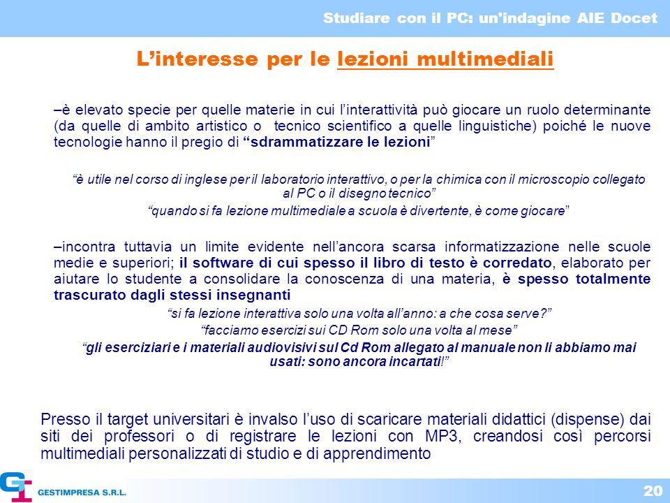 L'interesse per le lezioni multimediali