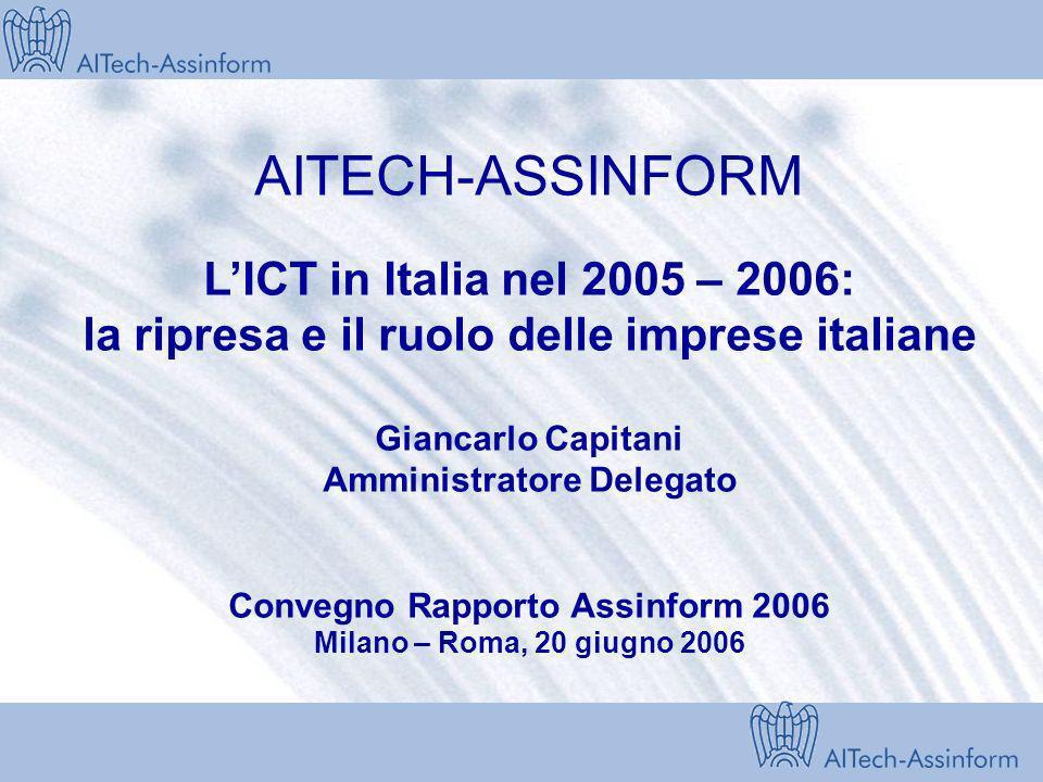 AITECH-ASSINFORM L'ICT in Italia nel 2005 – 2006: la ripresa e il ruolo delle imprese italiane Giancarlo Capitani Amministratore Delegato Convegno Rapporto Assinform 2006 Milano – Roma, 20 giugno 2006