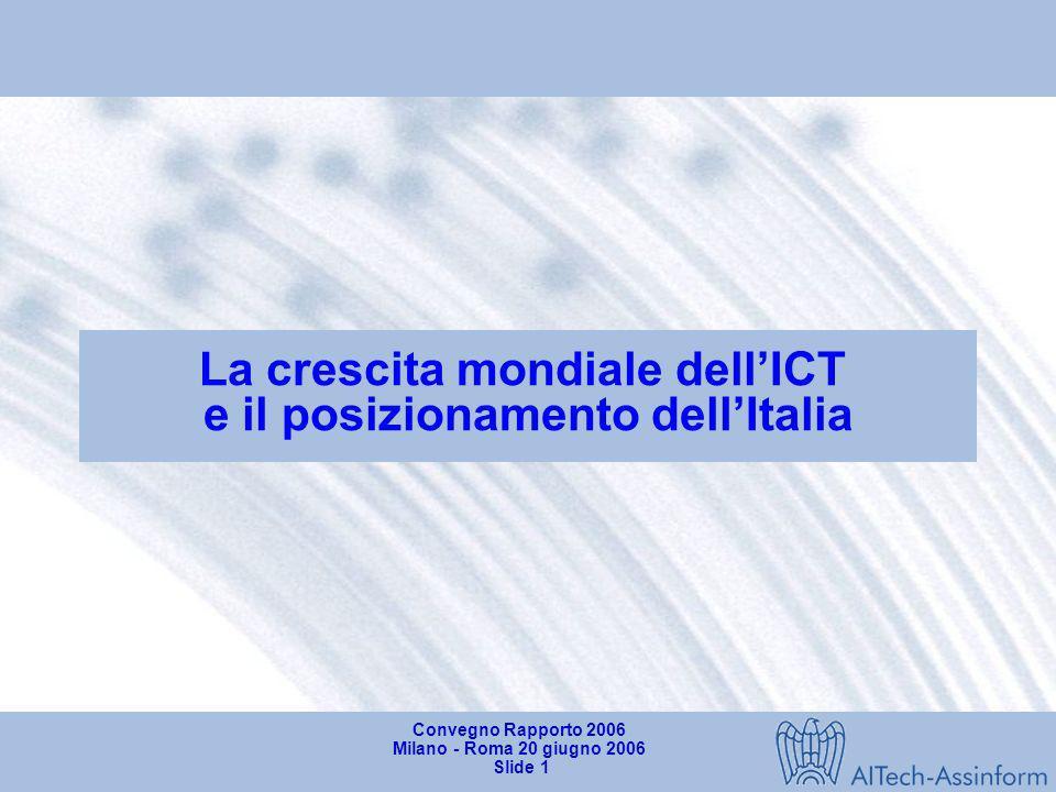 La crescita mondiale dell'ICT e il posizionamento dell'Italia