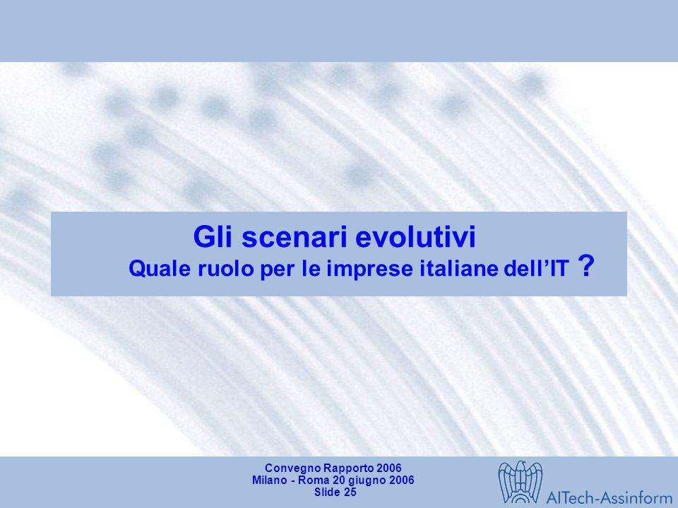 Gli scenari evolutivi Quale ruolo per le imprese italiane dell'IT