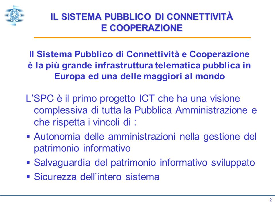 IL SISTEMA PUBBLICO DI CONNETTIVITÀ E COOPERAZIONE