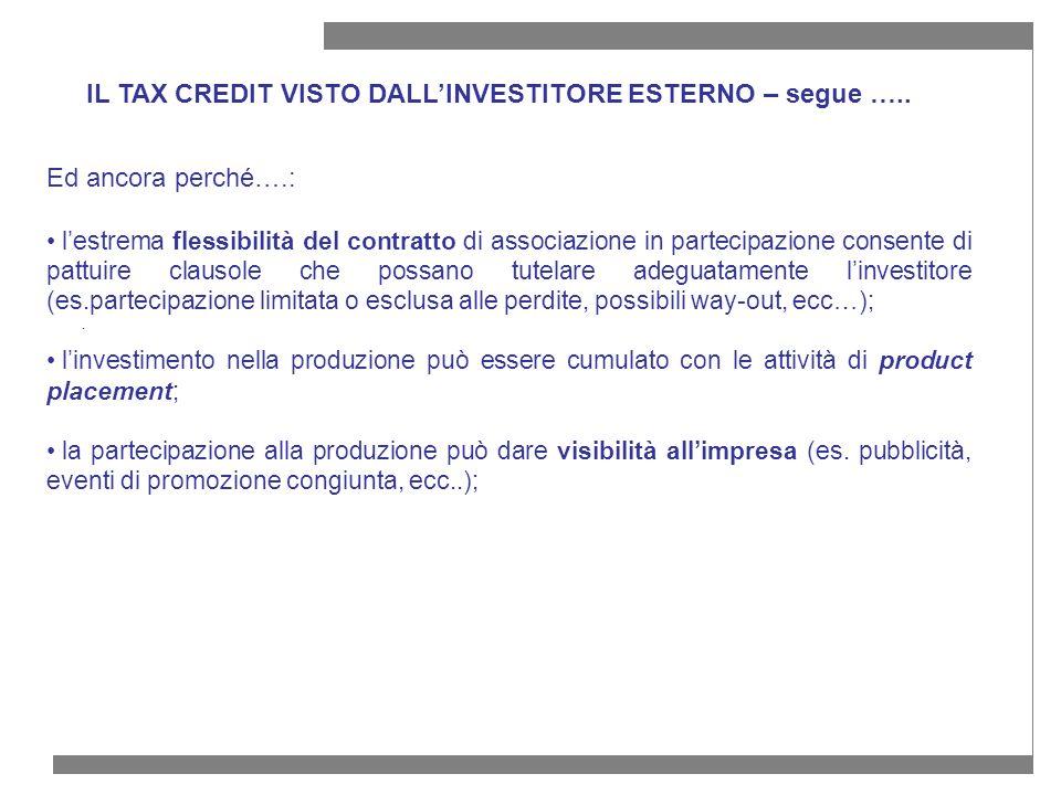 IL TAX CREDIT VISTO DALL'INVESTITORE ESTERNO – segue …..