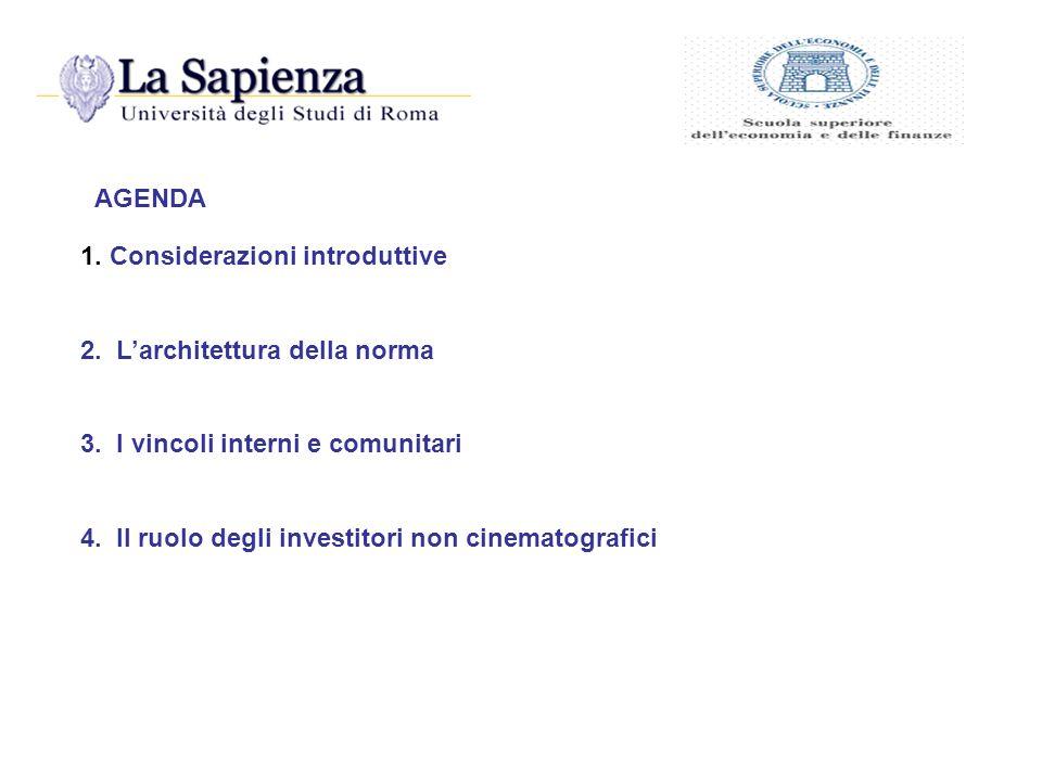 AGENDA 1. Considerazioni introduttive. 2. L'architettura della norma. 3. I vincoli interni e comunitari.