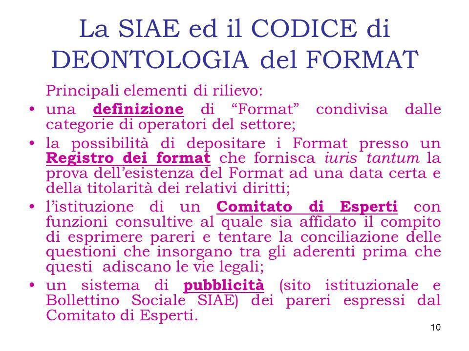 La SIAE ed il CODICE di DEONTOLOGIA del FORMAT