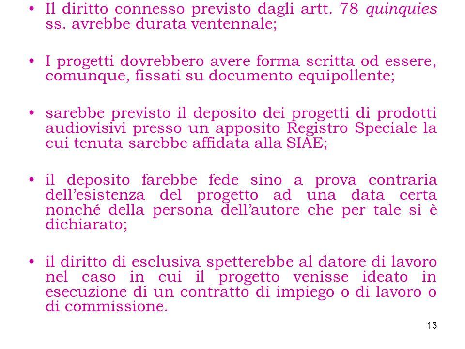 Il diritto connesso previsto dagli artt. 78 quinquies ss