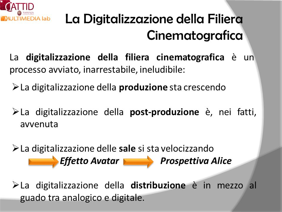 La Digitalizzazione della Filiera Cinematografica