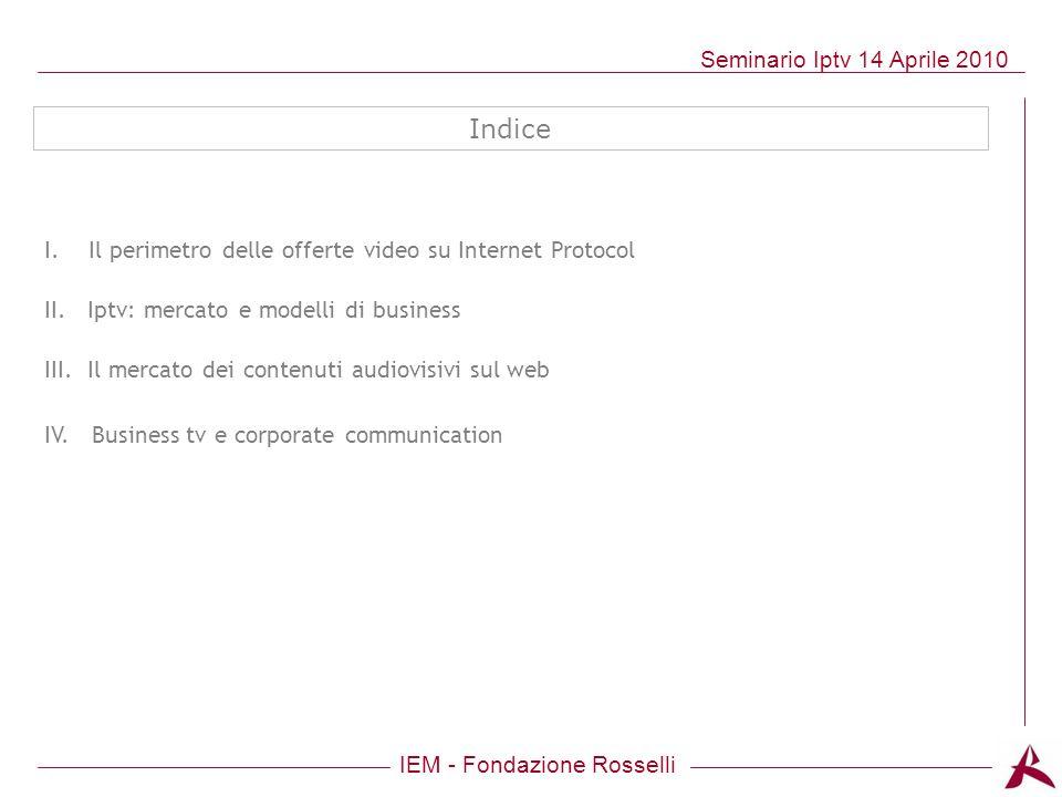 Indice I. Il perimetro delle offerte video su Internet Protocol