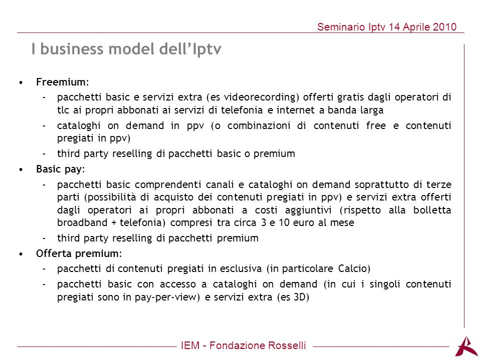 I business model dell'Iptv