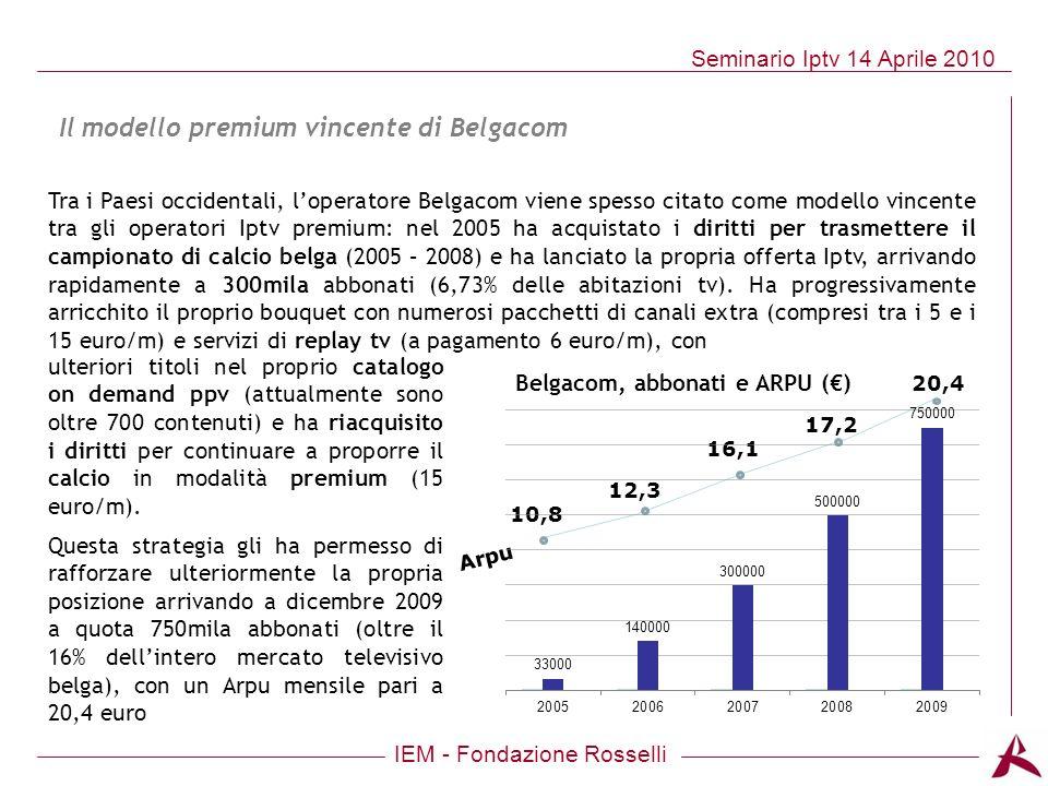 Belgacom, abbonati e ARPU (€)