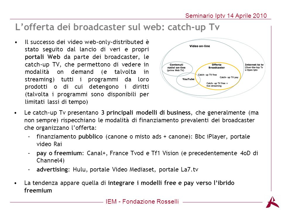 L'offerta dei broadcaster sul web: catch-up Tv