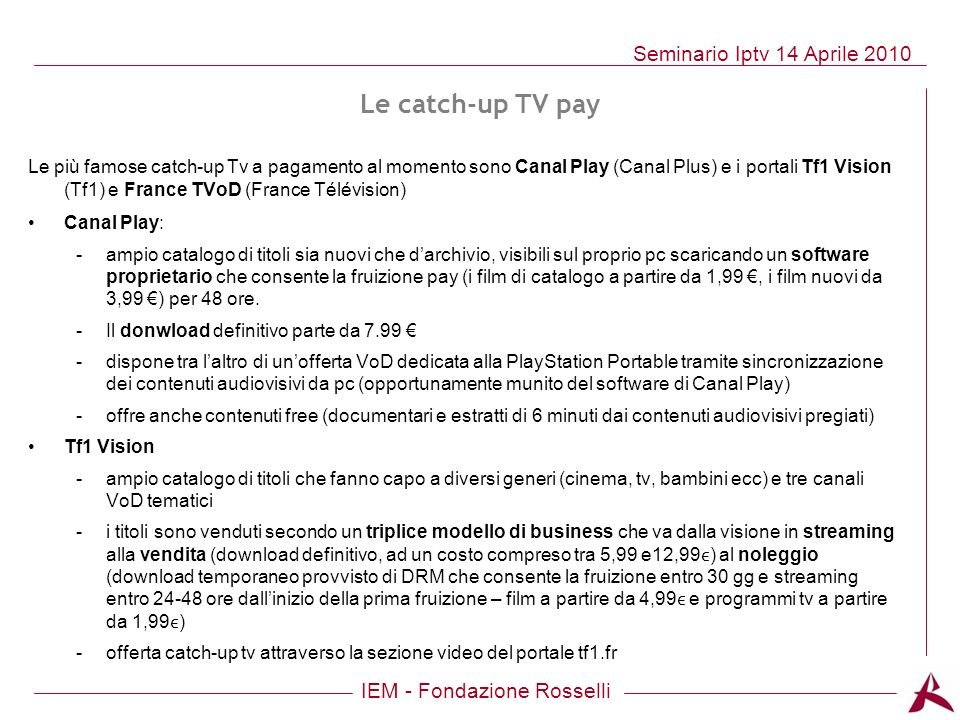 Le catch-up TV pay