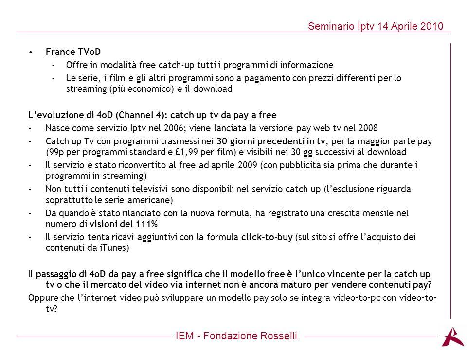 France TVoD Offre in modalità free catch-up tutti i programmi di informazione.