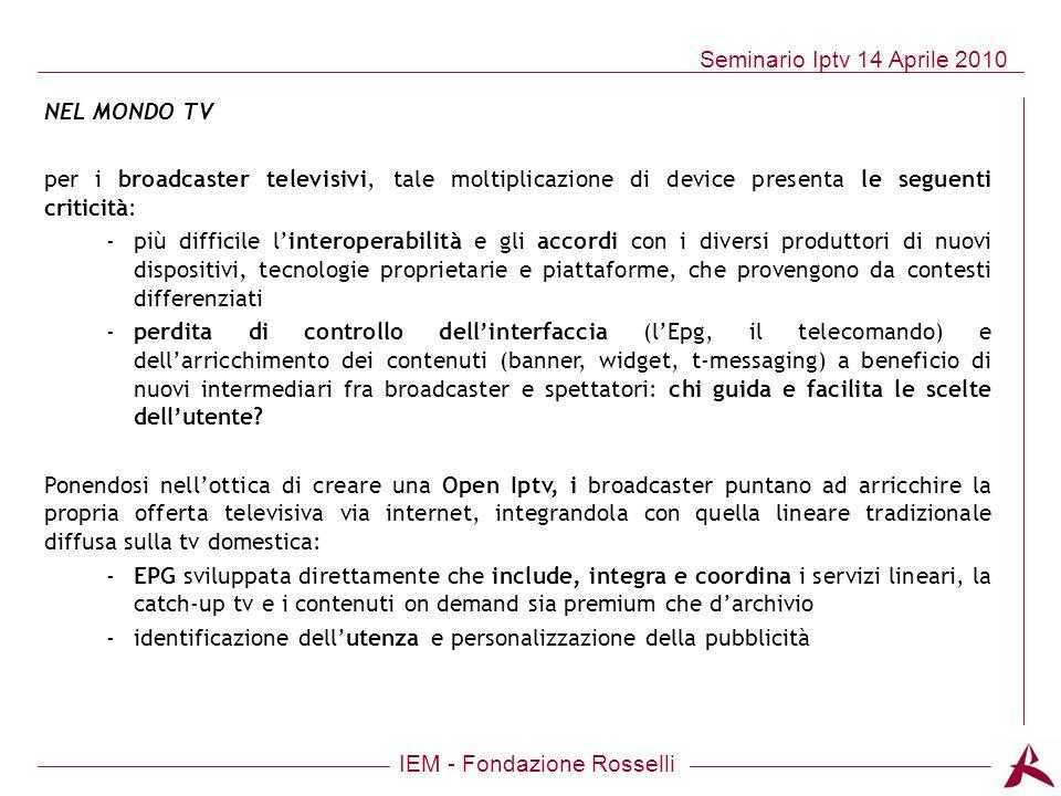 NEL MONDO TV per i broadcaster televisivi, tale moltiplicazione di device presenta le seguenti criticità: