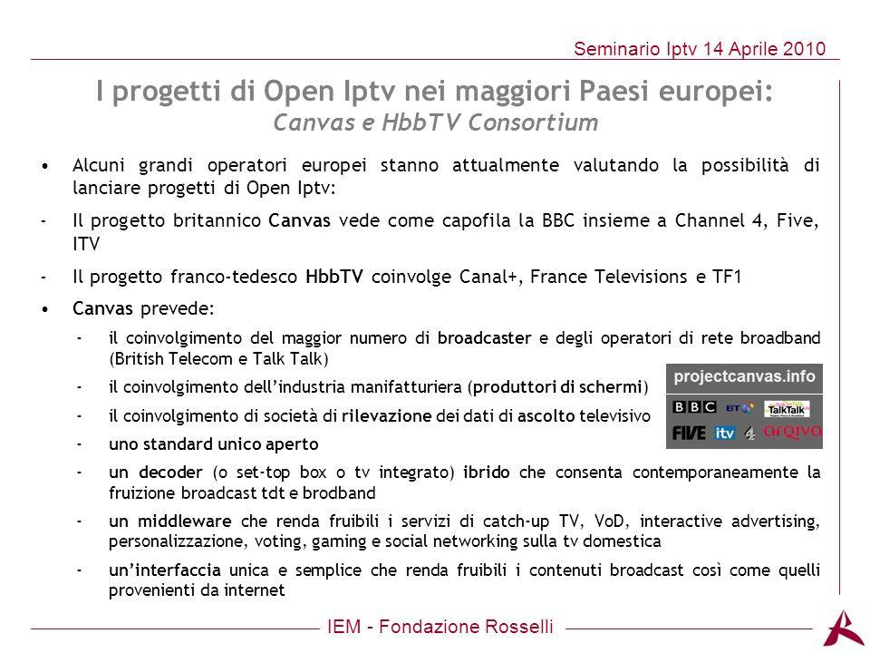 I progetti di Open Iptv nei maggiori Paesi europei: Canvas e HbbTV Consortium