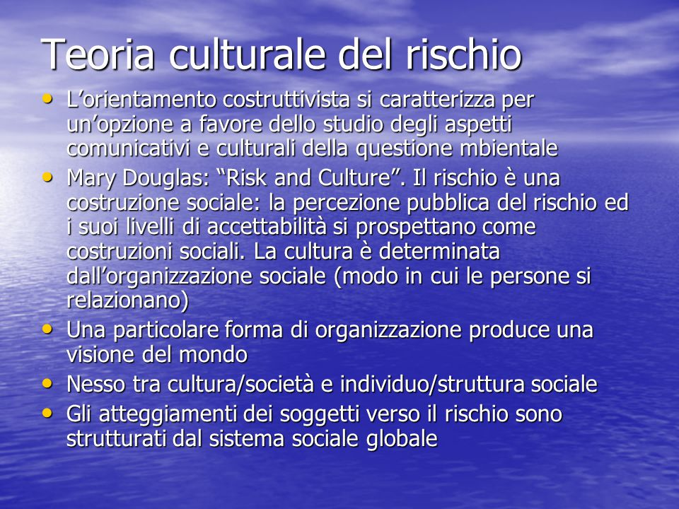 Teoria culturale del rischio