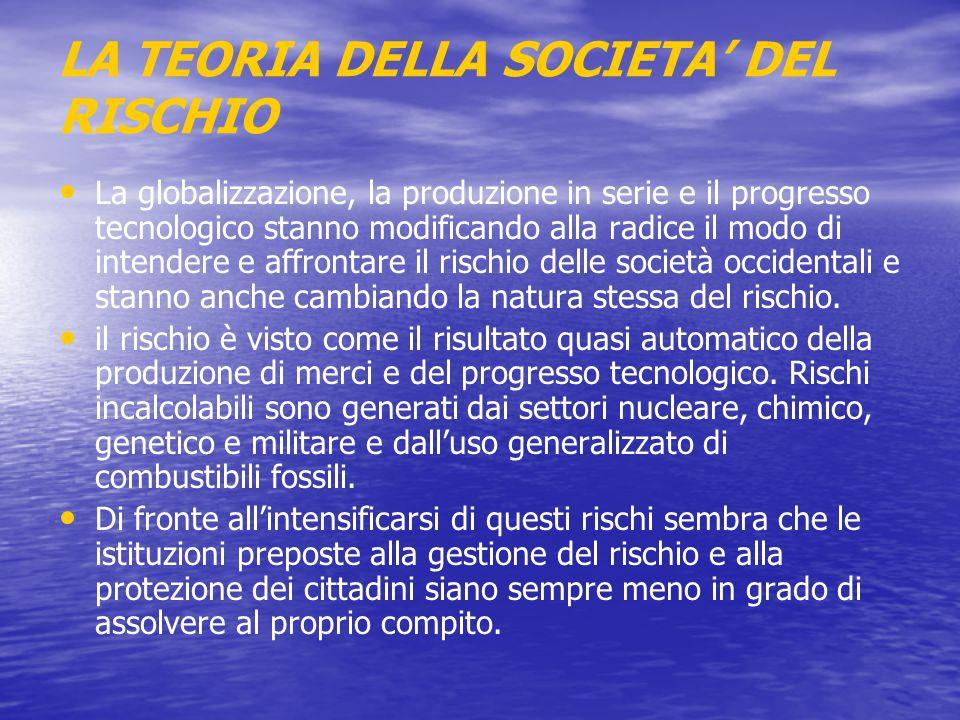 LA TEORIA DELLA SOCIETA' DEL RISCHIO