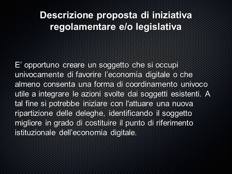 Descrizione proposta di iniziativa regolamentare e/o legislativa