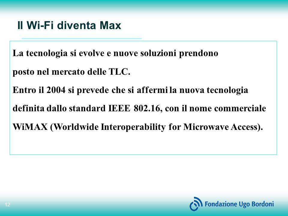 Il Wi-Fi diventa Max La tecnologia si evolve e nuove soluzioni prendono. posto nel mercato delle TLC.