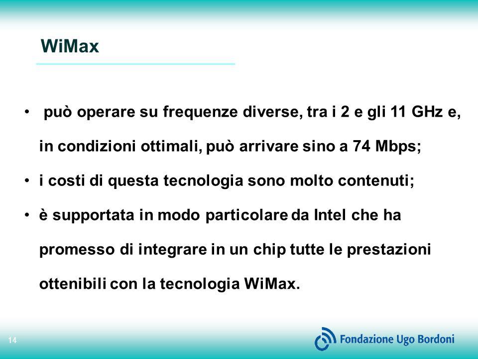 WiMax può operare su frequenze diverse, tra i 2 e gli 11 GHz e, in condizioni ottimali, può arrivare sino a 74 Mbps;