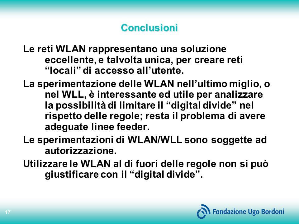 Conclusioni Le reti WLAN rappresentano una soluzione eccellente, e talvolta unica, per creare reti locali di accesso all'utente.