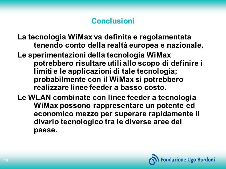 Conclusioni La tecnologia WiMax va definita e regolamentata tenendo conto della realtà europea e nazionale.