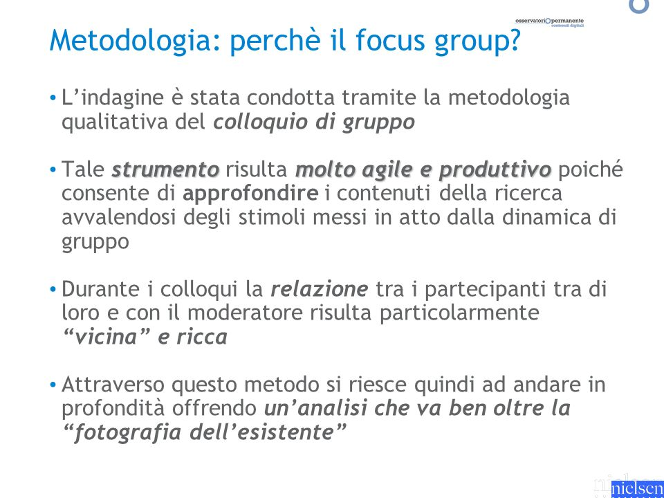 Metodologia: perchè il focus group