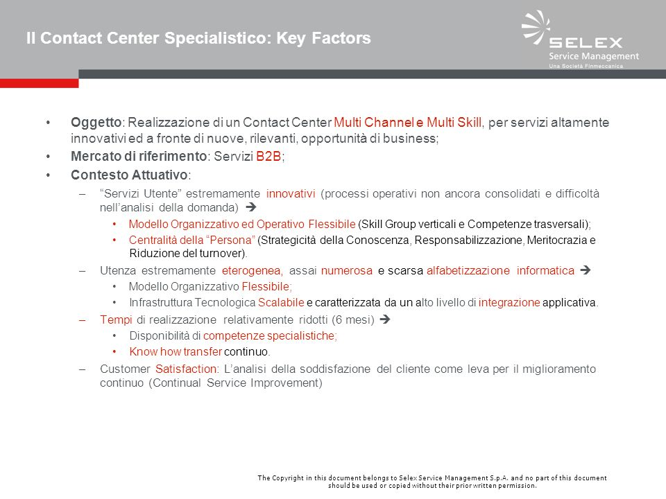 Il Contact Center Specialistico: Key Factors