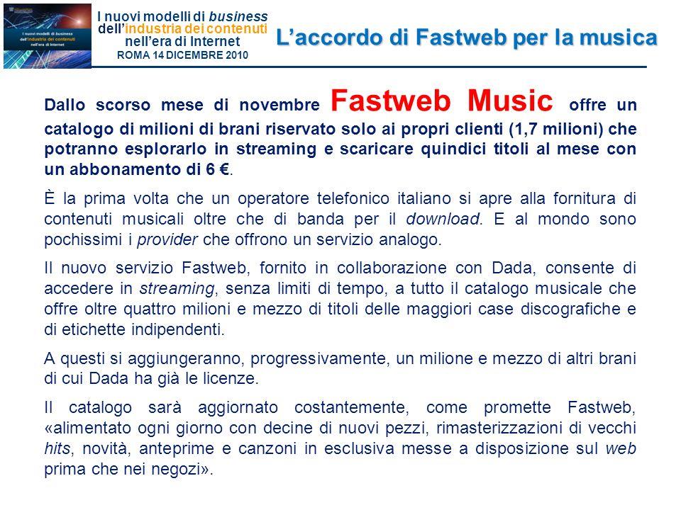 L'accordo di Fastweb per la musica