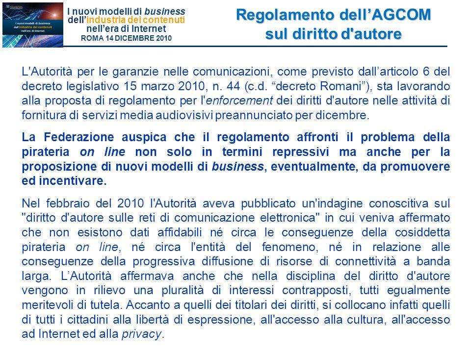 Regolamento dell'AGCOM