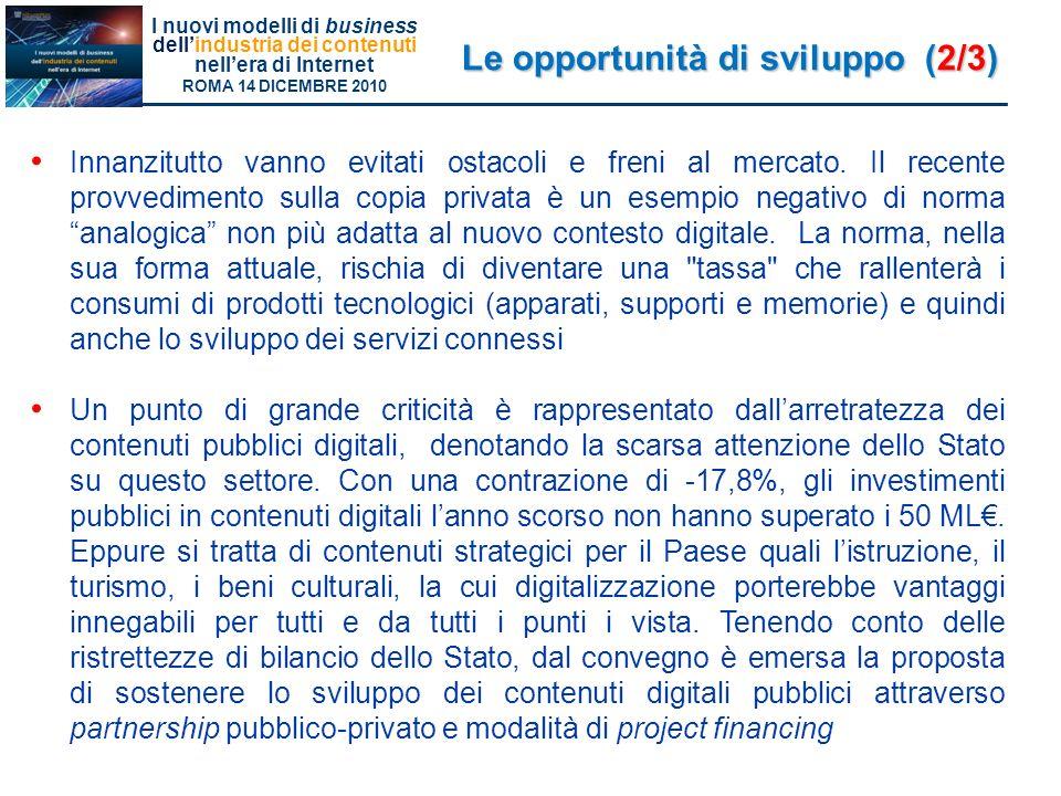 Le opportunità di sviluppo (2/3)