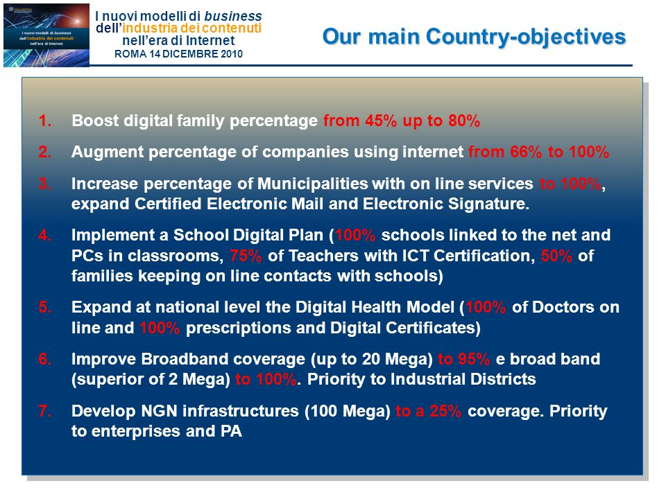 Our main Country-objectives