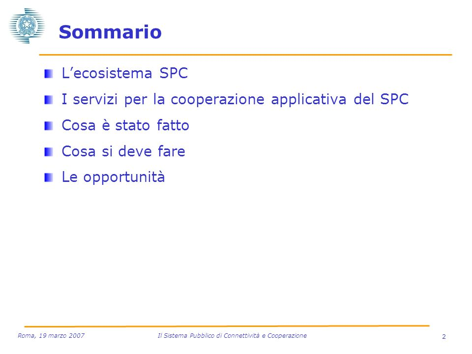 Sommario L'ecosistema SPC