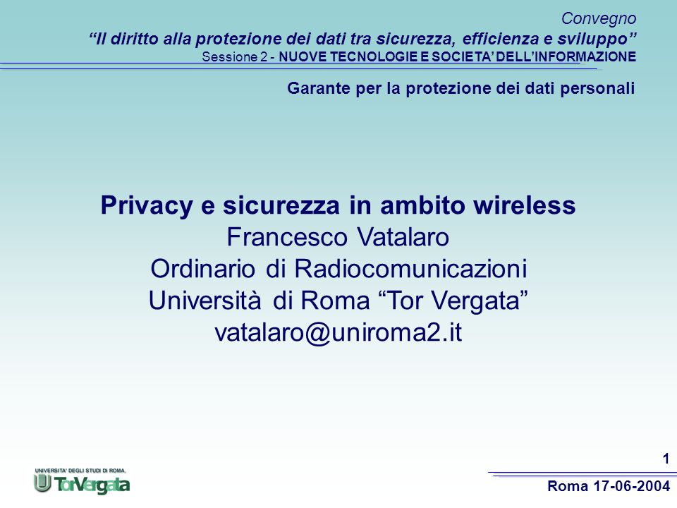 Privacy e sicurezza in ambito wireless