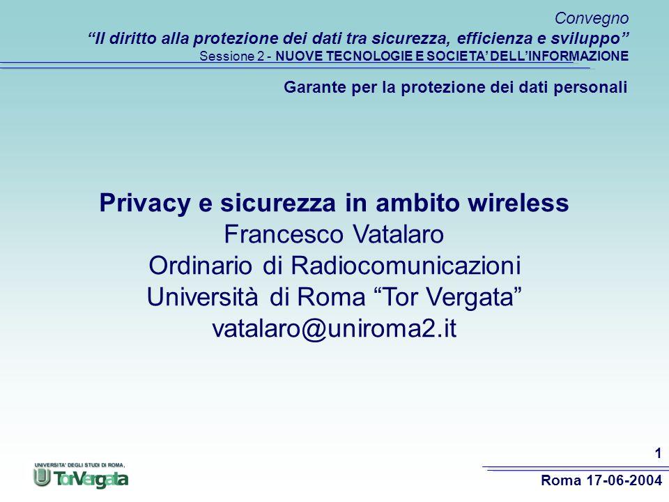 Privacy e sicurezza in ambito wireless