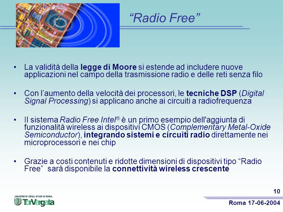 Radio Free La validità della legge di Moore si estende ad includere nuove applicazioni nel campo della trasmissione radio e delle reti senza filo.