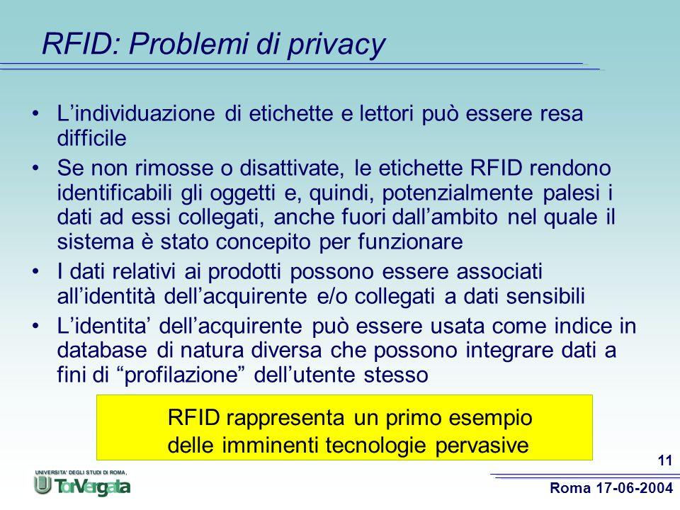 RFID: Problemi di privacy