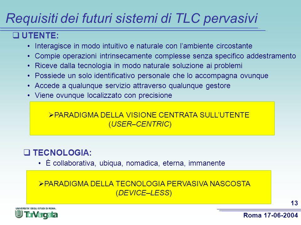 Requisiti dei futuri sistemi di TLC pervasivi
